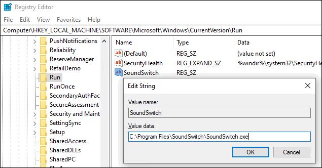 add program to Windows 10 startup in the registry