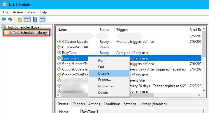 disable startup item in Windows 10 Task Scheduler