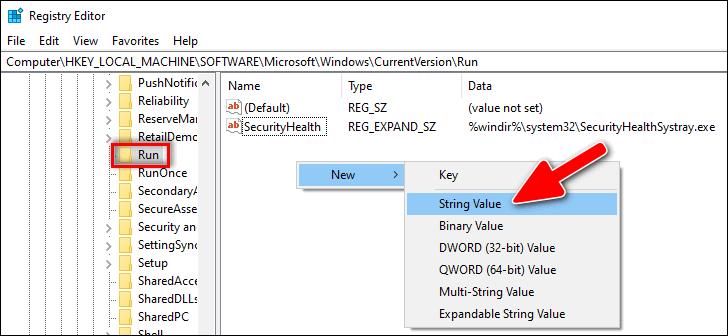 new string value Windows 10 Registry