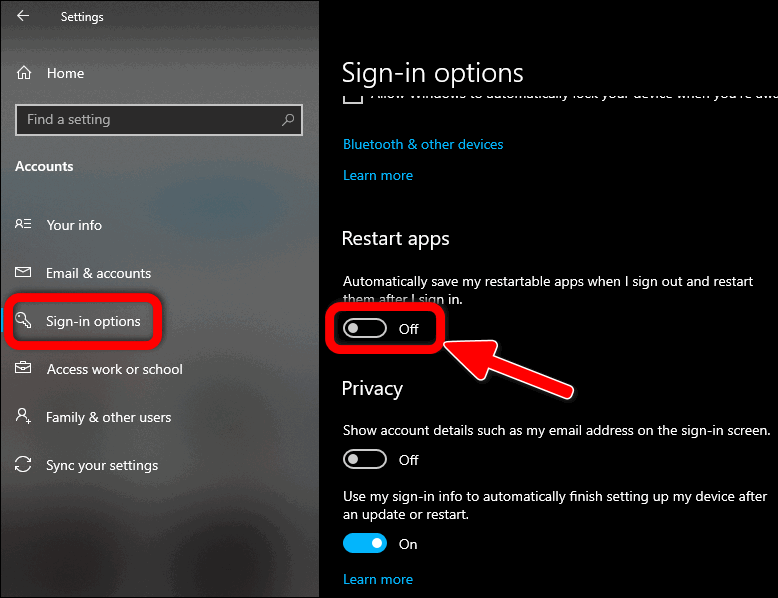 Disable Apps Restarting in Windows 10