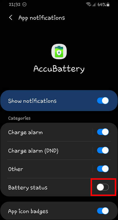 Disable Battery Status notifications in AccuBattery on Galaxy OneUI 2.1