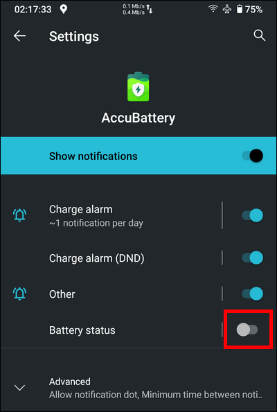 Disable battery status notification Stock Android 10
