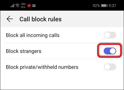 block strangers on EMUI 9.1