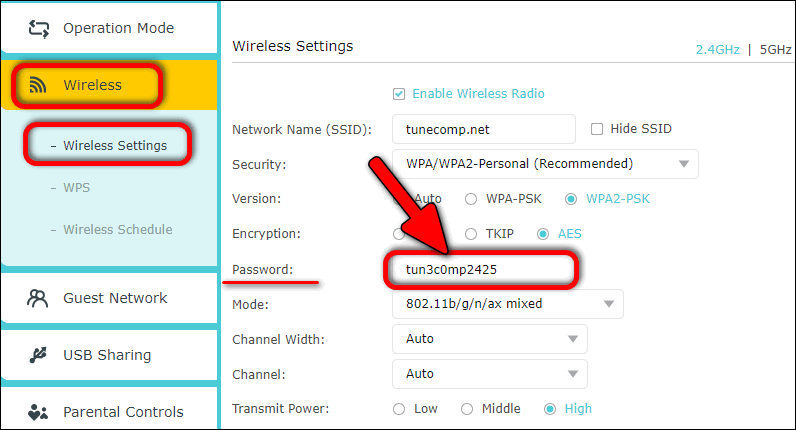 find network security key on router