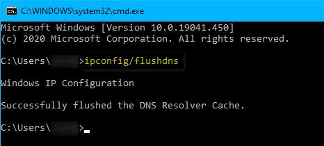 ipconfig flushdns Windows 10 2004