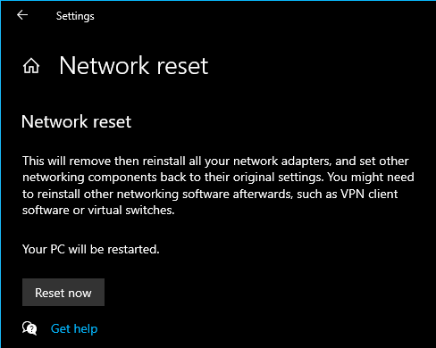 Reset Network Settings Windows 10