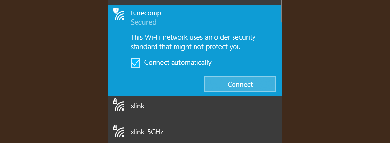 This Wi-Fi network uses an older security standard Windows 10