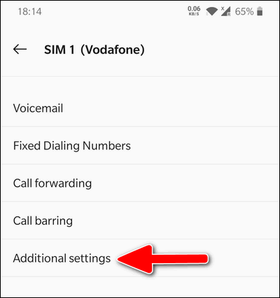 Additional Call Settings OnePlus
