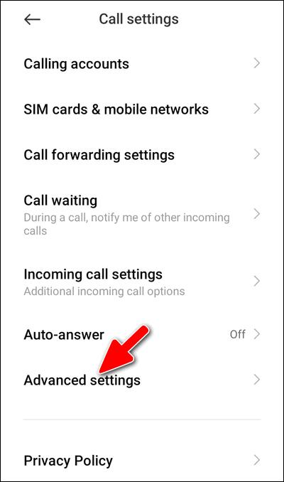 Advanced settings MIUI 12 Dialer