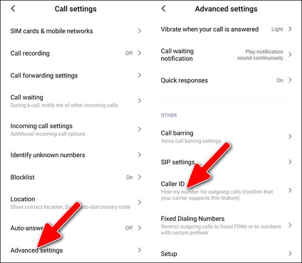Caller ID settings Xiaomi Dialer