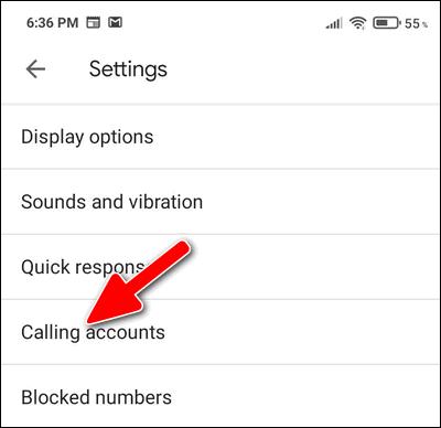 Calling accounts MIUI 12