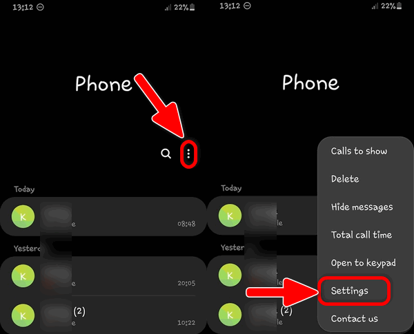 Galaxy S Dialer Settings OneUI 2.1
