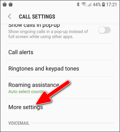 Galaxy S7 More Phone settings