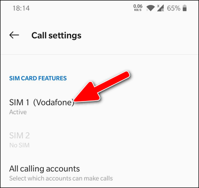 Select SIM card OnePlus