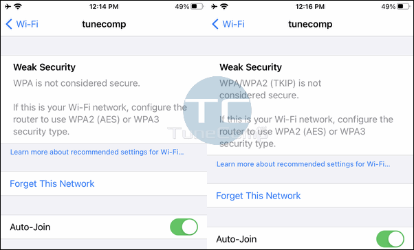 WPA (TKIP) is not considered secure