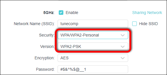 select WPA2 version TP-Link