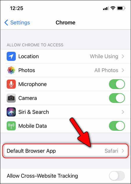 Default Browser app in Chrome Settings iOS
