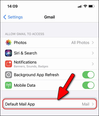 Gmail settings iOS 14