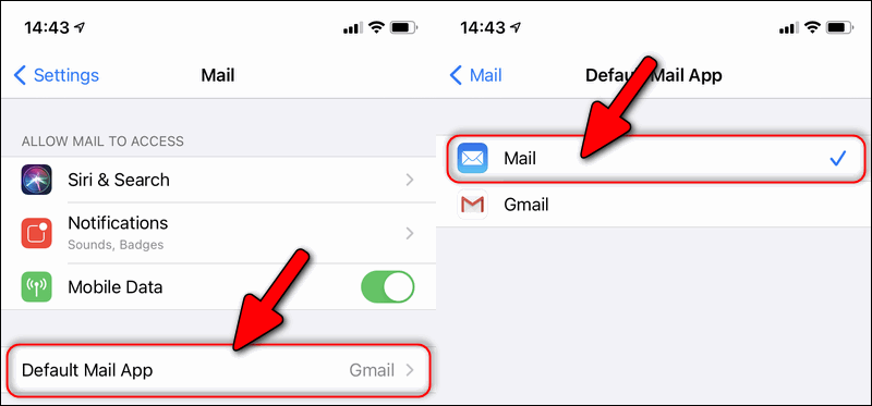 default mail client iOS 14